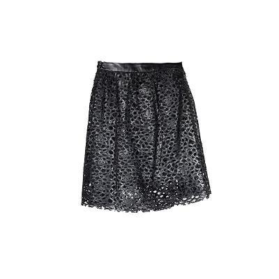 Faux leather lazer cut skirt black